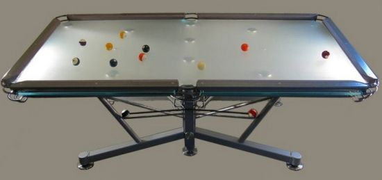 Nottage design g 1 special resin creates glass topped for Glass billiard table