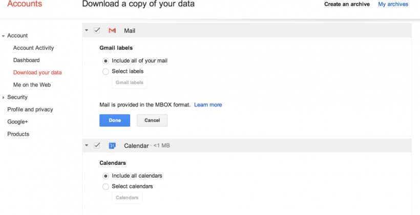 Google Takeout adds Gmail and Calendar export for data departures