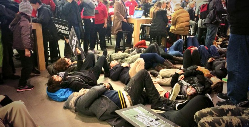 Apple's 5th Ave NYC store taken over by Eric Garner protestors