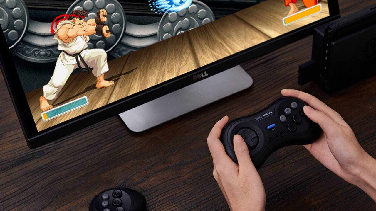 8BitDo M30 2.4G Genesis Mini controller is wireless and has six buttons