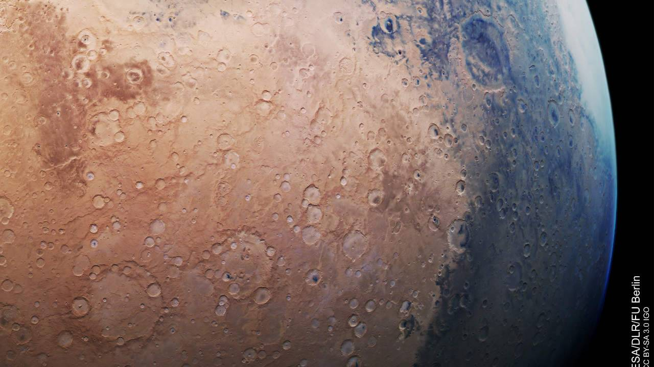 ESA's new Mars image shows the Red Planet bathed in blue
