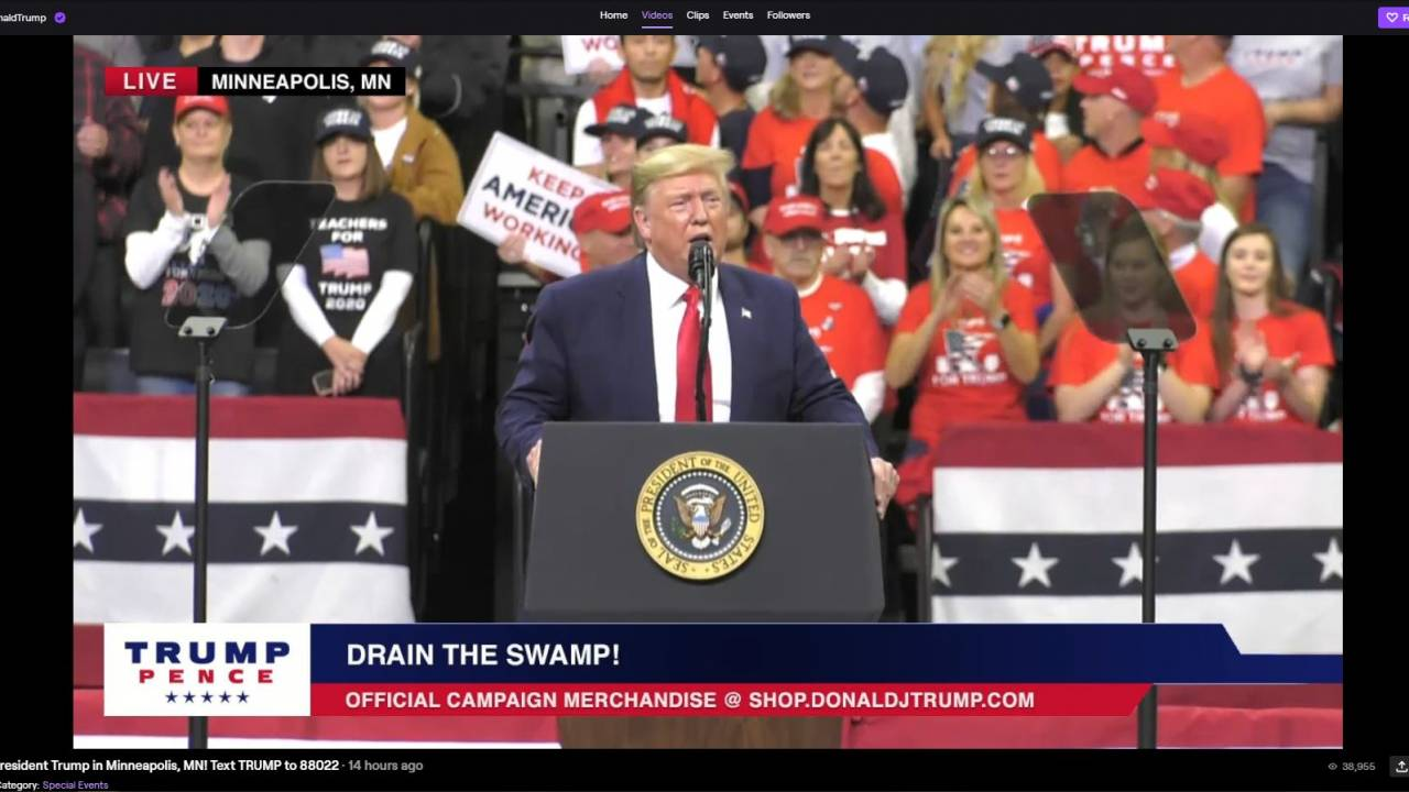 Trump live streams on Twitch for 2020 election rally