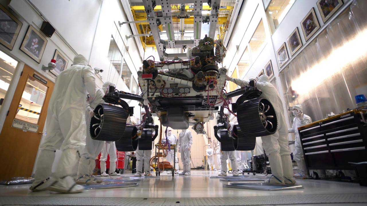 NASA's Mars 2020 rover stands on its wheels for the first time