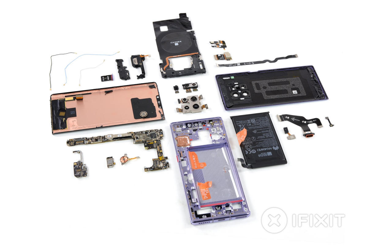 Huawei Mate 30 Pro repair is moderately easy as shown by iFixit teardown
