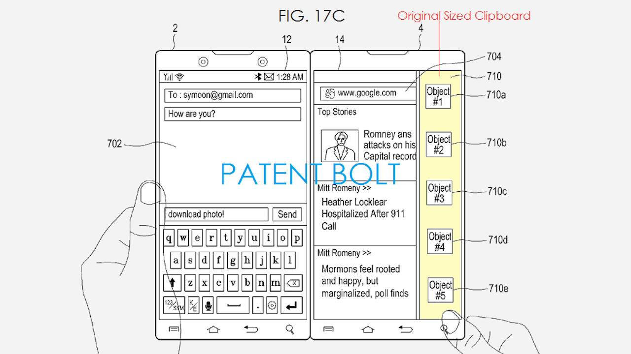Samsung dual-screen folding phone patent takes on the Microsoft Surface Duo