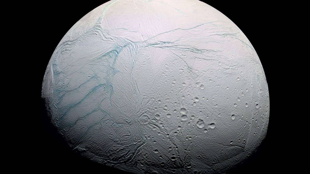 Study reveals what caused icy moon Enceladus' giant blue stripes
