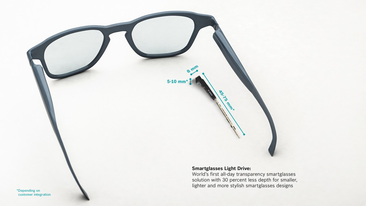 Bosch unveiled world's first all-day transparency smartglasses solution