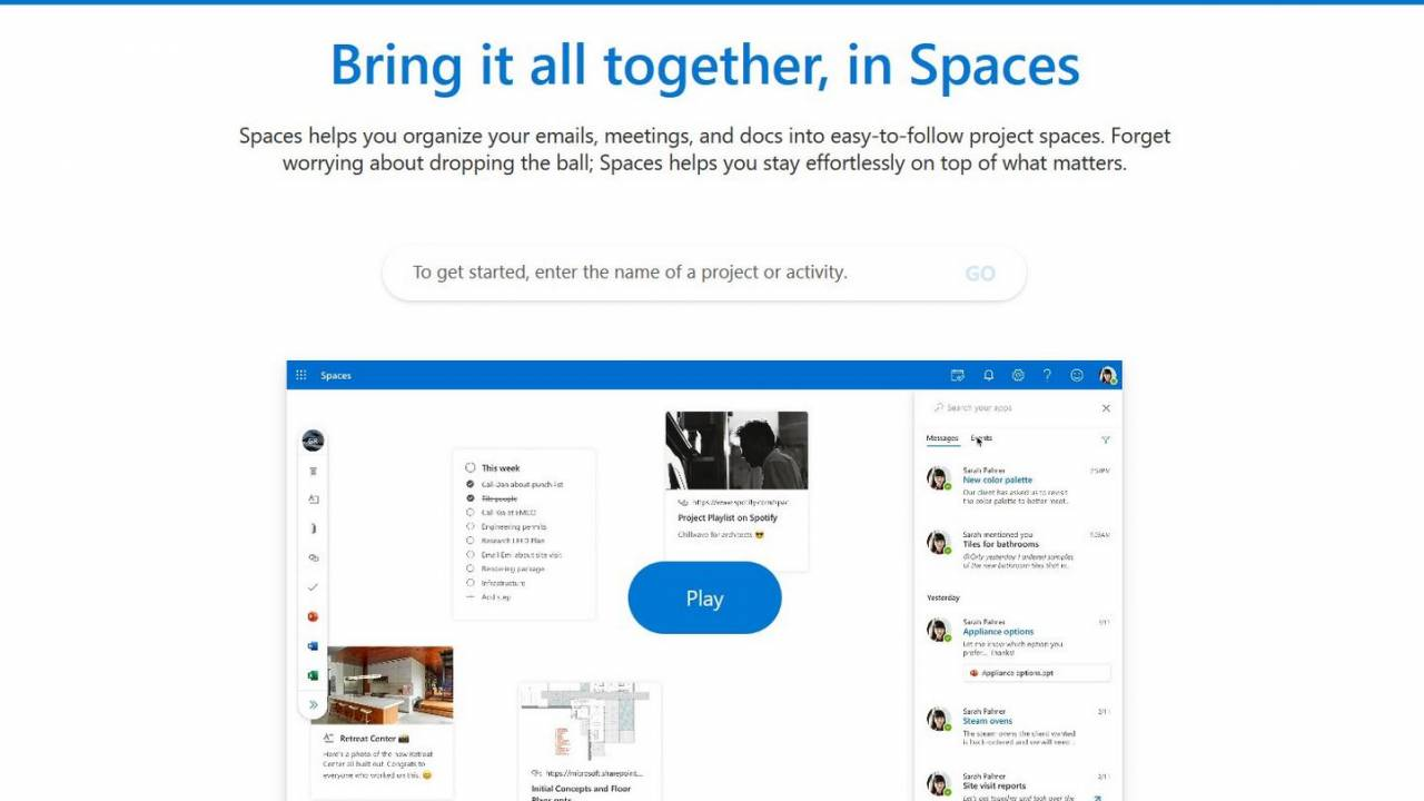 Outlook Spaces surfaces as a tool for getting organized