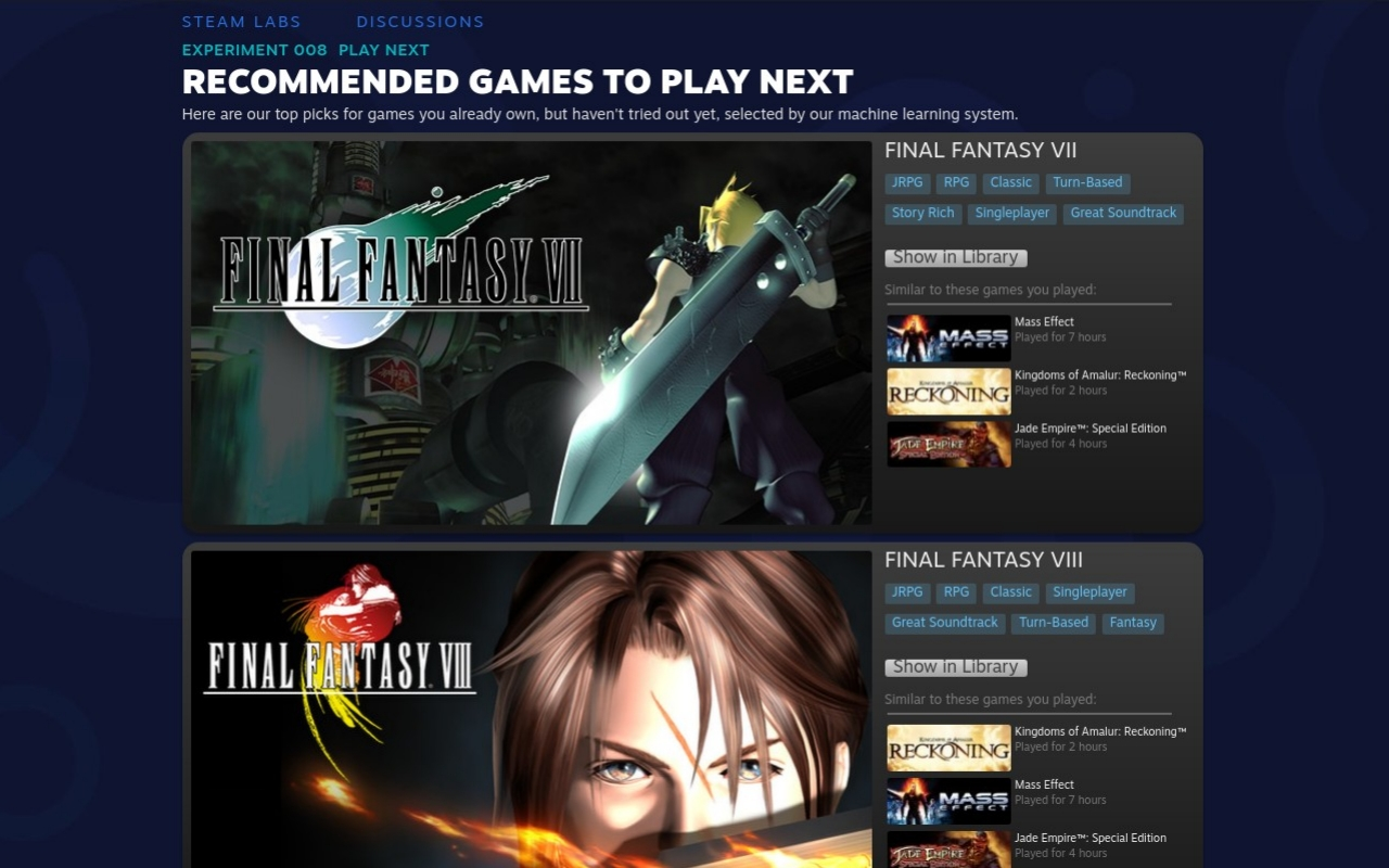 Steam Labs Experiment 008 recommends what you should play next - SlashGear