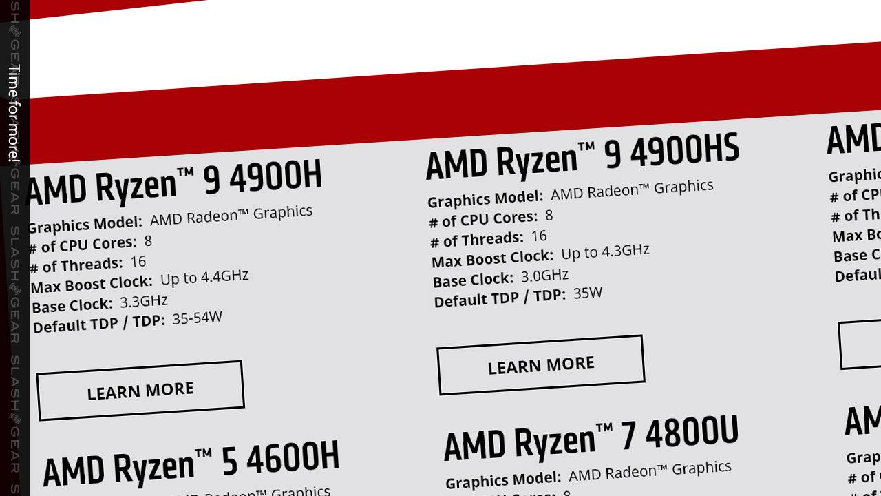 AMD Ryzen 9 4000H and 4000HS APU units hit the top end of laptop power