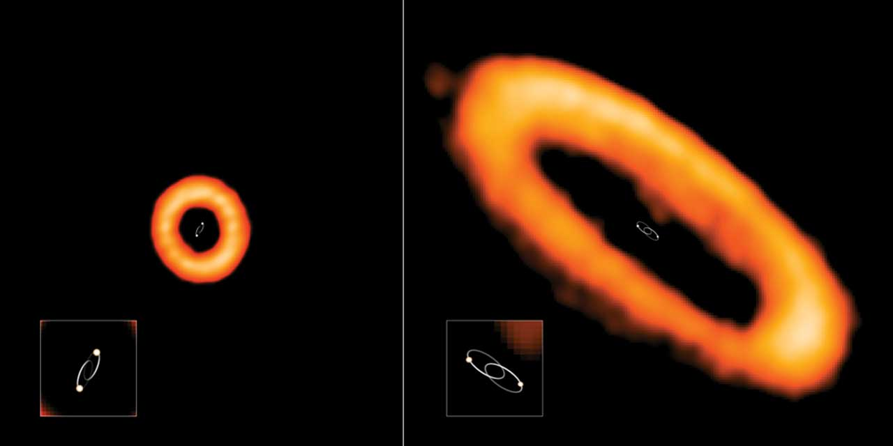 Scientists found that protoplanetary disks around wide binaries have strange orientations