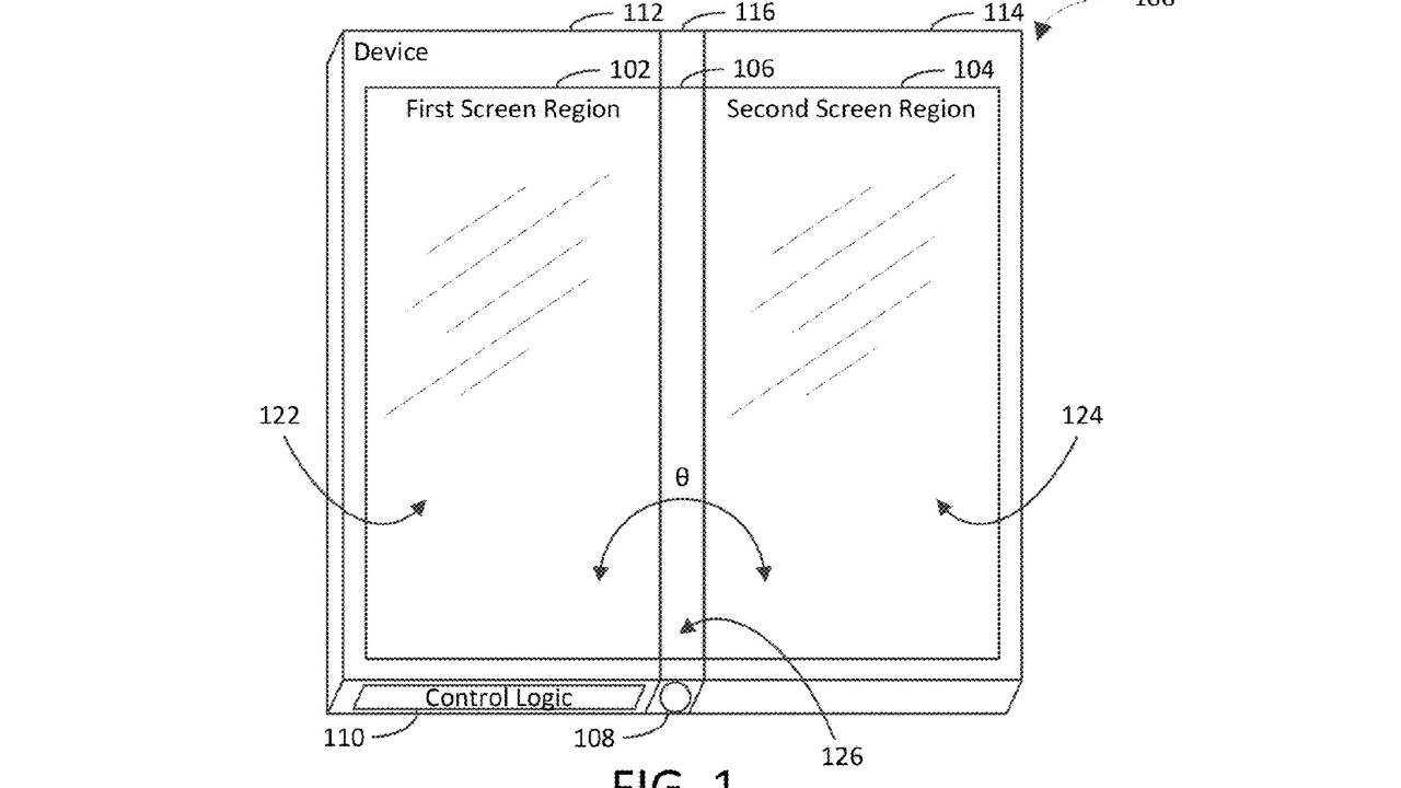Microsoft dual screen device patent turns the hinge into a third screen